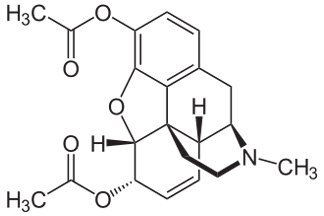 Heroin chemical structure diacetylmorphine